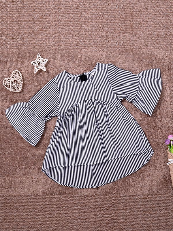 Grey Striped Ruffle Sleeve Dress