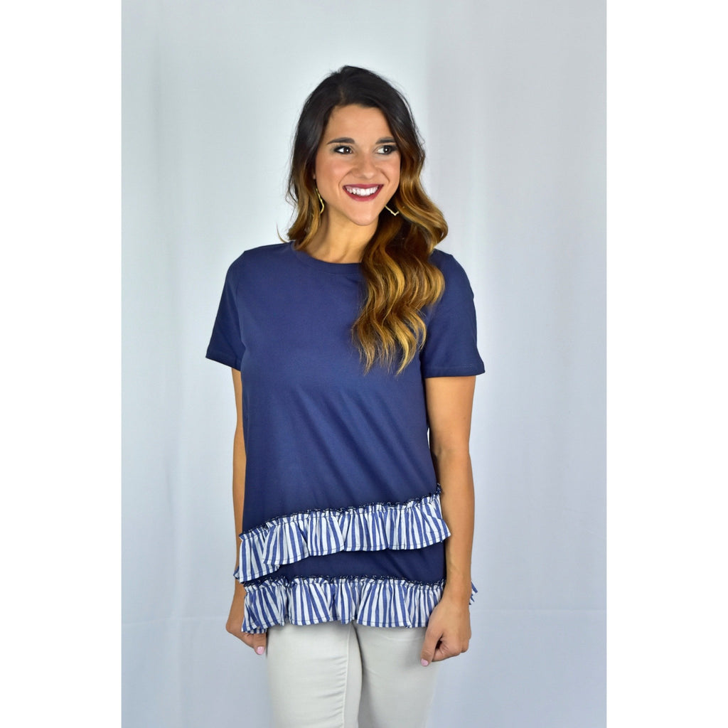 Navy Ruffle Top