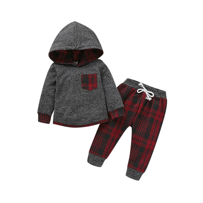 Buffalo Plaid Hoodie & Pants Set