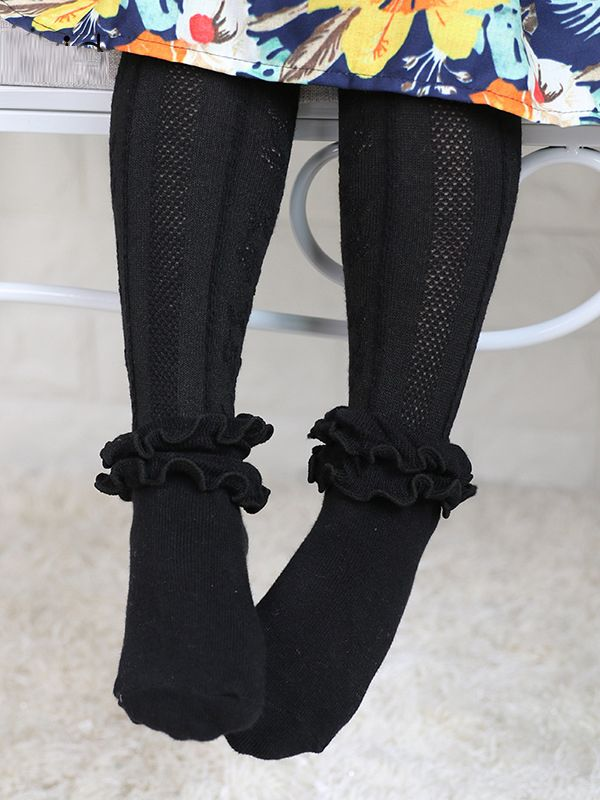 Soft Black Ruffle Stockings