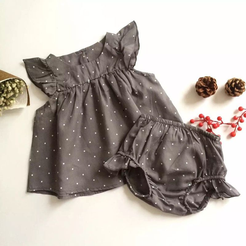 Grey Polka Dot 2 Piece