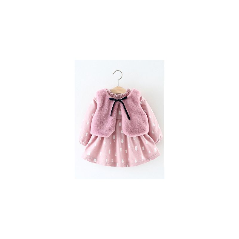 Pink Bunny 2-piece Dress & Vest