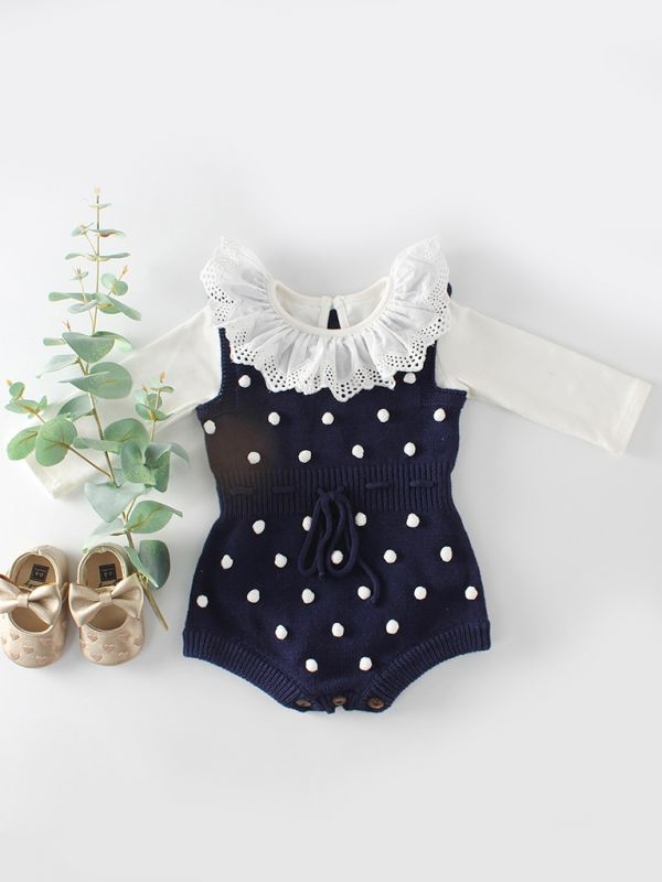 Navy Polka Dot Short Sleeve Romper