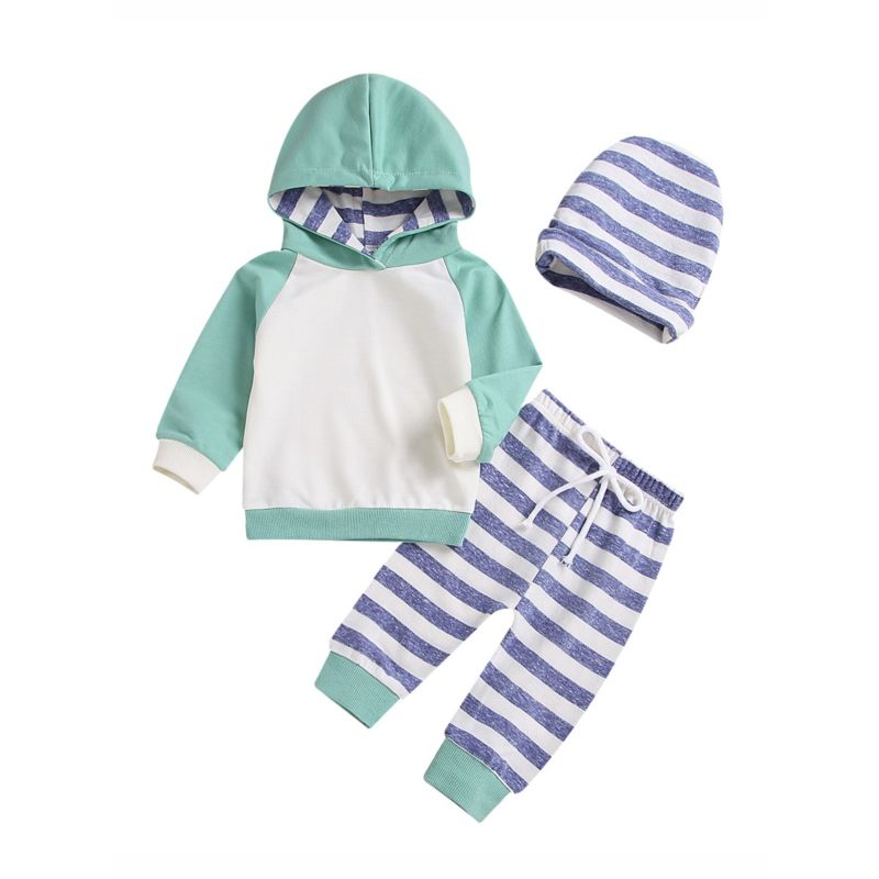 Baby Boy Color Blocking Hoodie & Stripe Pants Set with Hat