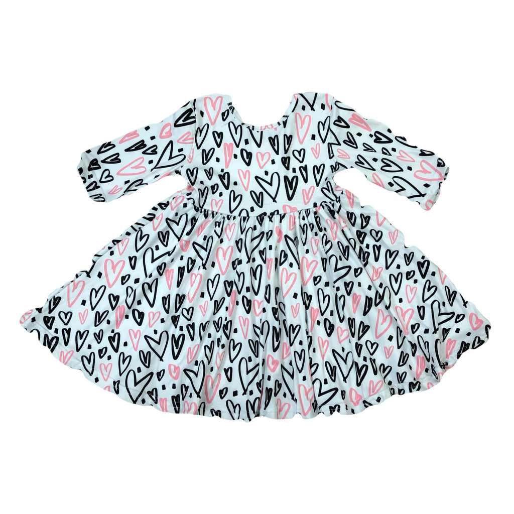 Hand Drawn Hearts Twirl Dress