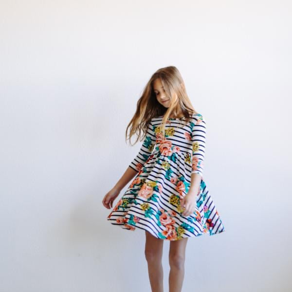 Striped Floral Twirl Dress