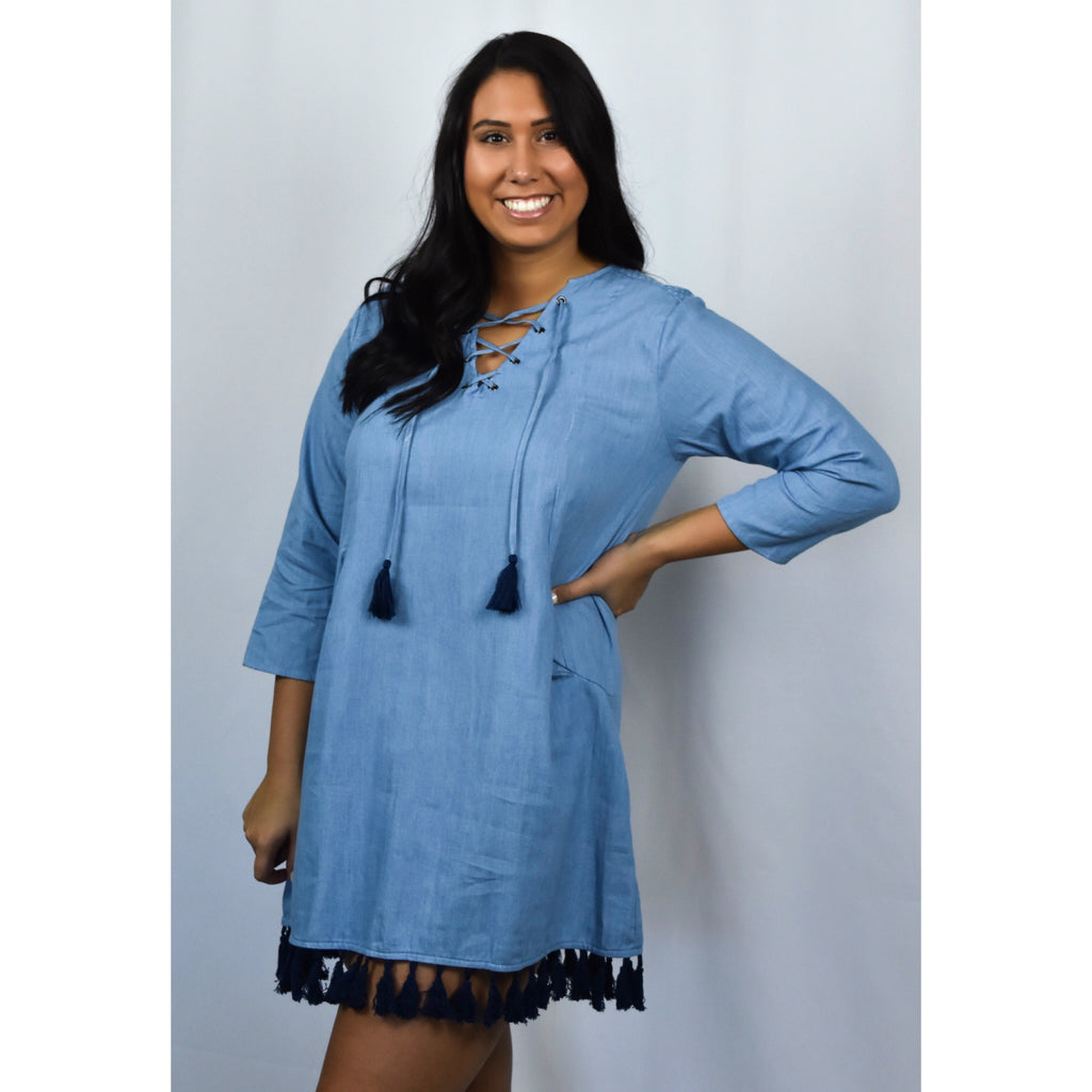 Denim Tassel Dress