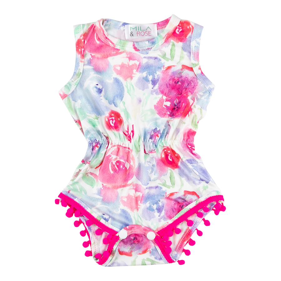 Watercolor Pom Pom Romper