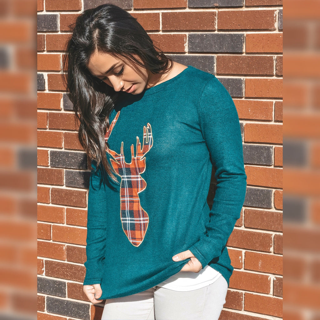 Green Reindeer Top