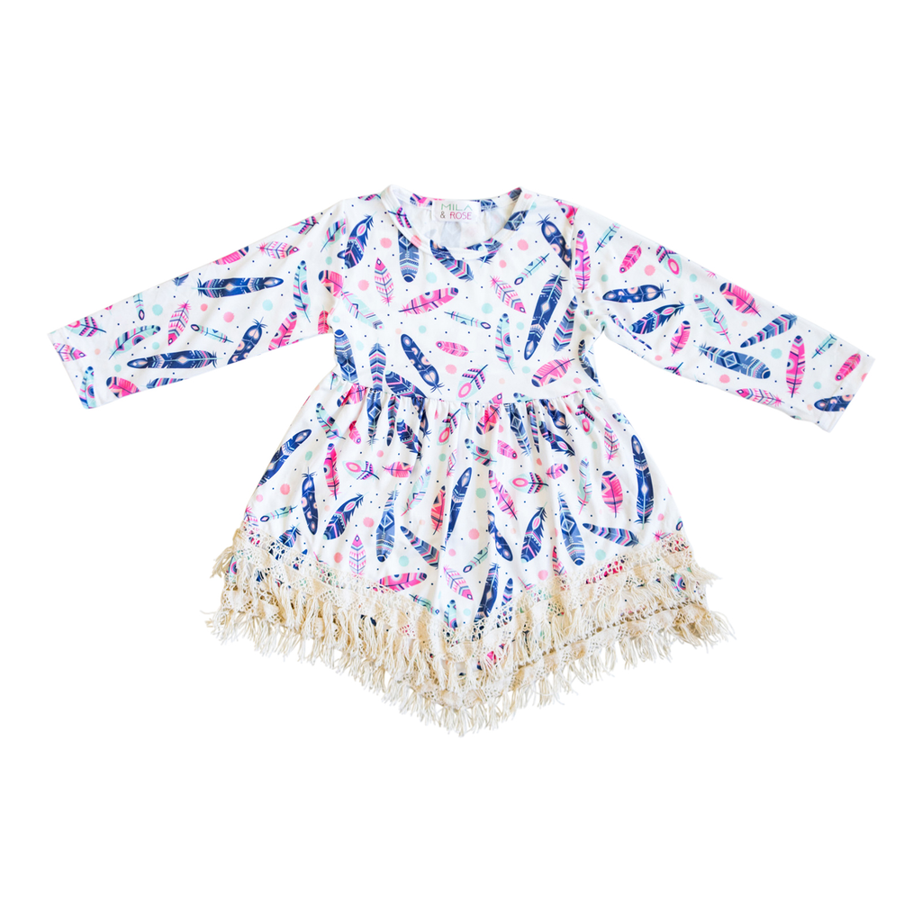 Feather Print Boho Fringe Dress