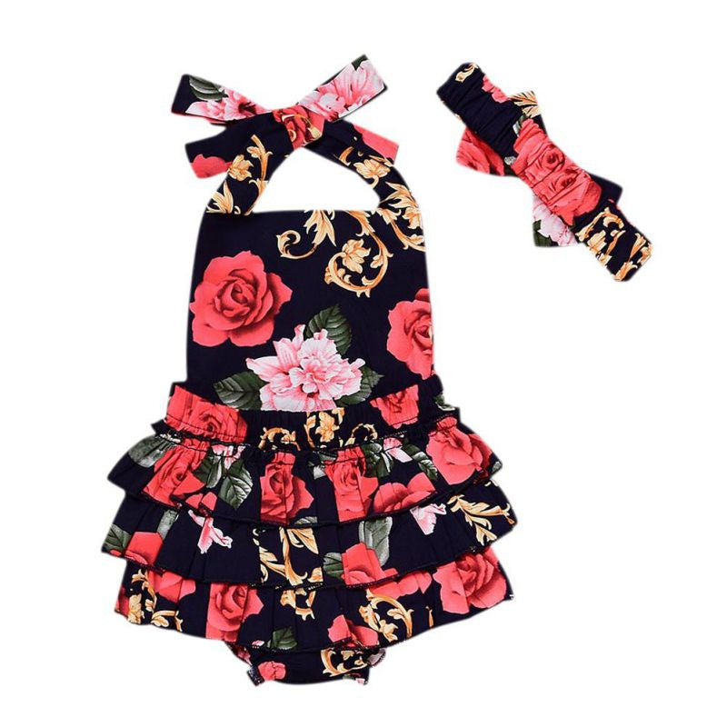 Baby Girl Floral Print Princess Romper Kids Lovely  Backless Black Rompers Kids Jumpsuit +Headband Clothes 2pcs