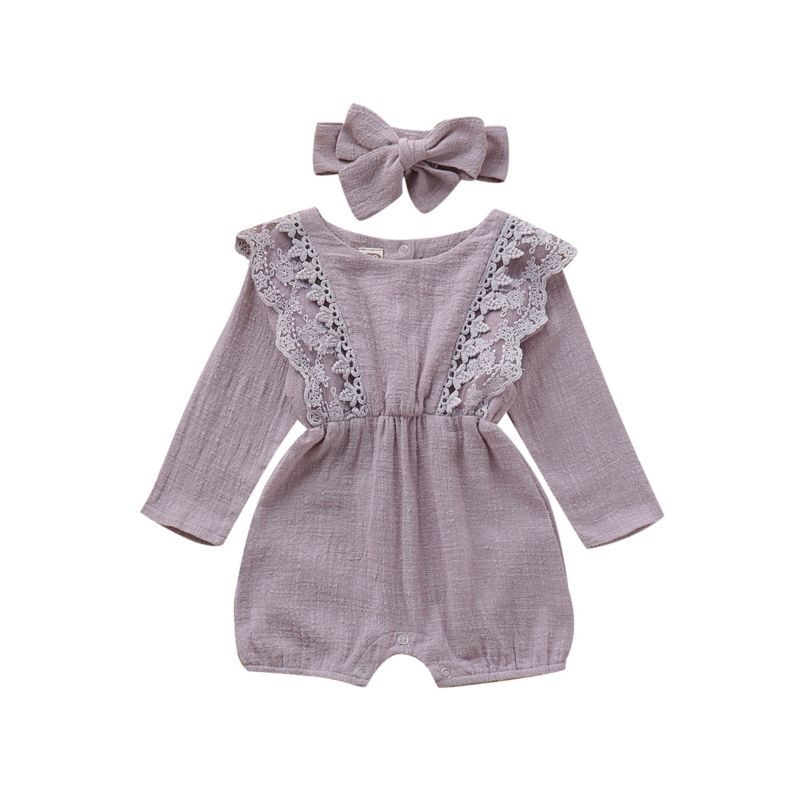 Baby Girl Lace Jumpsuit with Matching Headband