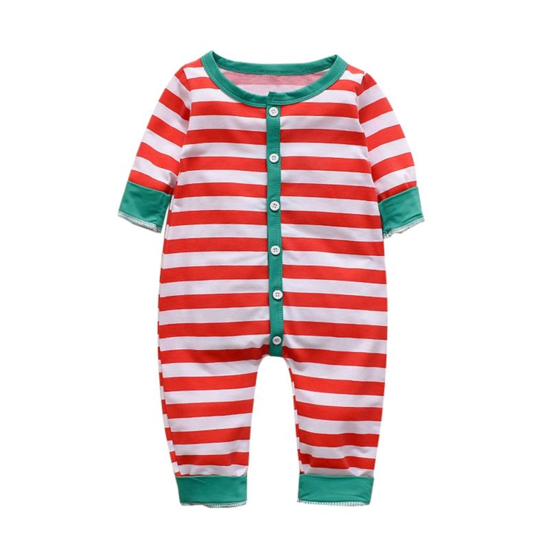 Red Christmas Striped Jumpsuit