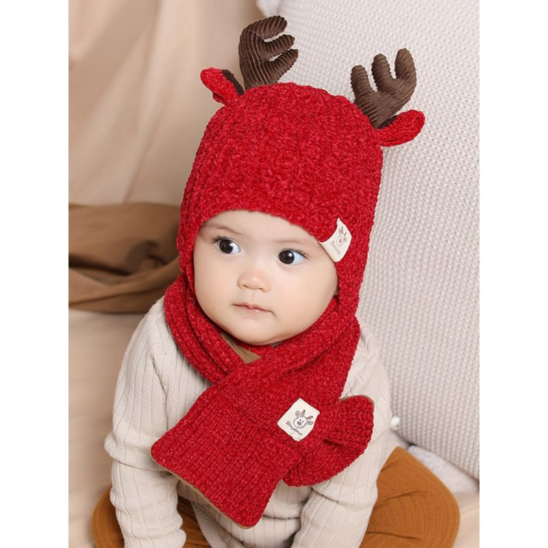 Christmas Deer Beanie with Matching Scarf