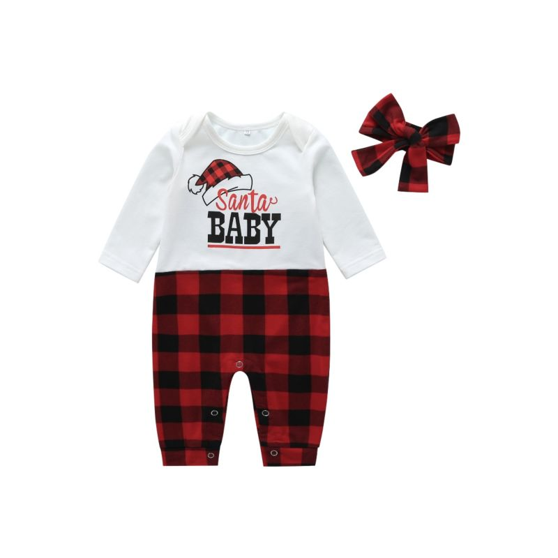 Santa Baby Buffalo Plaid Onesie with Headband