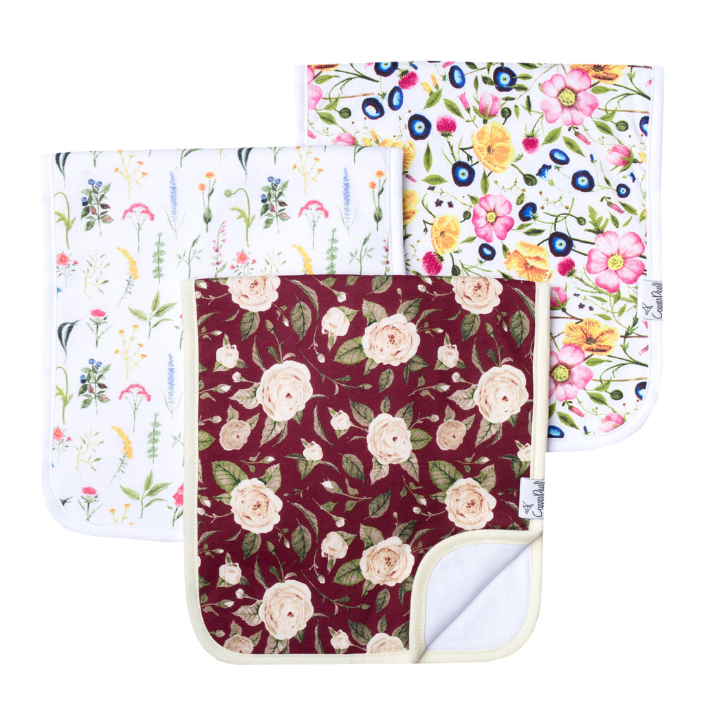 Scarlet Burp Cloth Set (3-pack)