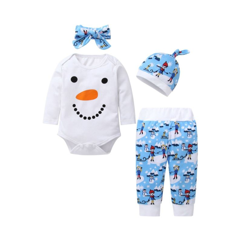 Snowman Romper + Pants + Headband + Hat