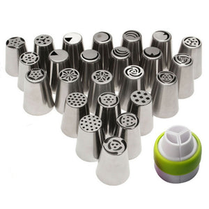 24Pcs Russian Tulip stainless steel Nozzles birthday Cake Cupcake Decorating Icing Piping Nozzles Rose Flower Cream Pastry Tips - Kaya Kitchen
