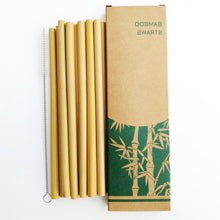 Load image into Gallery viewer, 10pcs Drinking Straws Natural Bamboo Straws Reusable Eco-Friendly Party Kitchen + Clean Brush - Kaya Kitchen