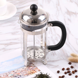 Coffee Pot Stainless Steel Glass Coffeeware Multifunctional French Presses Durable Coffee Kettle Teapot Practical Coffee Maker - Kaya Kitchen
