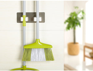 2Pcs Wall Mounted Mop Broom Brush Holder and Hanger Household Adhesive Storage Broom Mop Hook Racks Kitchen Bathroom Organizer - Kaya Kitchen