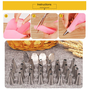 38 Pcs Cake Decorating Nozzles and Bags - Kaya Kitchen
