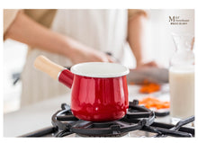 Load image into Gallery viewer, Enamel Milk Pot Mini Saucepan with Wooden Handle - Kaya Kitchen