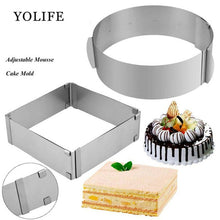 Load image into Gallery viewer, 2 pcs Adjustable Mousse Ring Set 3D Round & Square Cake Molds Stainless Steel Baking Moulds accessories Cake Decorating Tools - Kaya Kitchen