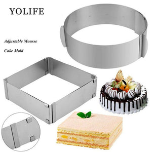2 pcs Adjustable Mousse Ring Set 3D Round & Square Cake Molds Stainless Steel Baking Moulds accessories Cake Decorating Tools - Kaya Kitchen