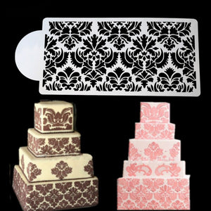 Baking Tool Side Decor Mould Damask Lace Flower Border Fondant Cake Stencil #F - Kaya Kitchen