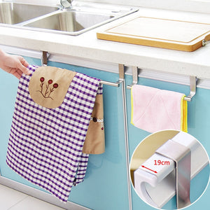 Stainless Steel Storage Rack Kitchen Towel Holder Cupboard Hanger Cabinet Door Hanging Bathroom Towel Stand Rack Sundries Shelf - Kaya Kitchen