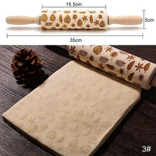 Load image into Gallery viewer, Christmas wooden Embossing Rolling Pin Baking Cookies Biscuit Fondant Cake Dough Engraved Rollercake Decorating Baking Tools - Kaya Kitchen