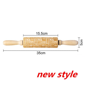 Christmas wooden Embossing Rolling Pin Baking Cookies Biscuit Fondant Cake Dough Engraved Rollercake Decorating Baking Tools - Kaya Kitchen
