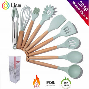 Kitchen Utensil Set Silicone Cooking Utensils for Non-stick Cookware Wooden Handle - Kaya Kitchen