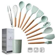 Load image into Gallery viewer, Kitchen Utensil Set Silicone Cooking Utensils for Non-stick Cookware Wooden Handle - Kaya Kitchen