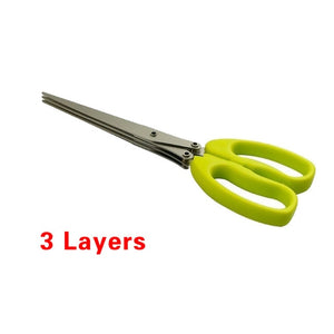 Kitchen 3-5 Multi-Layers scissor Shredded Chopped Herb Laver Scallion Cutter 15CM Minced 5 Layers Basil Rosemary Spices Cook Tool Cut - Kaya Kitchen