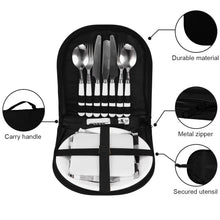 Load image into Gallery viewer, Camping Silverware Kit Stainless Steel Plate Spoon Wine Opener Fork Napkin Outdoor Picnic - Kaya Kitchen