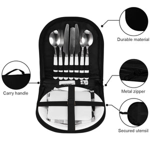 Camping Silverware Kit Stainless Steel Plate Spoon Wine Opener Fork Napkin Outdoor Picnic - Kaya Kitchen