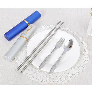 3PCS/Set Outdoor Spoon Fork Sanitary With Storage Case Tableware - Kaya Kitchen