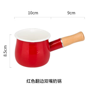 Enamel Milk Pot Mini Saucepan with Wooden Handle - Kaya Kitchen
