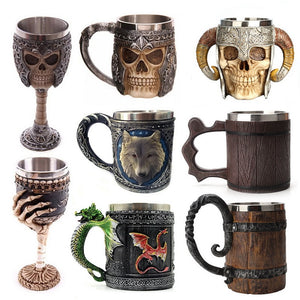 Retro Horn Skull Resin stainless Steel Beer Mug - Kaya Kitchen