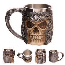 Load image into Gallery viewer, Retro Horn Skull Resin stainless Steel Beer Mug - Kaya Kitchen