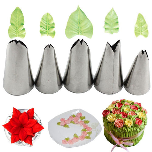 5 Pcs Set Leaves Nozzles Stainless Steel Icing Piping Nozzles Tips