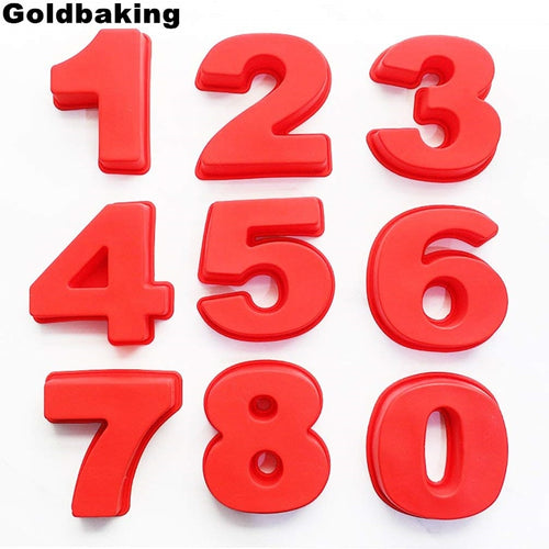 10 Inch Large Silicone Number Molds 0-9 for Birthday Cake