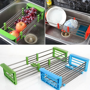 Stainless Steel Adjustable Kitchen Over Sink Dish Drying Rack Insert Storage Organizer Fruit Vegetable Tray Drainer - Kaya Kitchen