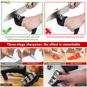Knife Sharpener 3 Stages Professional Kitchen Sharpening Stone Grinder knives Ceramic Sharpener Tool - Kaya Kitchen
