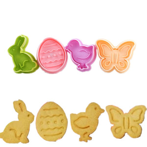2 in 1 (4PC) Cookies stamp and Cake Decor Mold - Kaya Kitchen