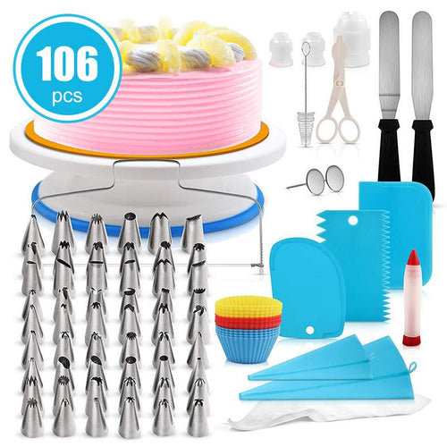 Cake Decorating Kit 106pcs Multi-function Cake Turntable Set Pastry Tube Fondant Tool Kitchen Dessert Baking Pastry Supplies - Kaya Kitchen