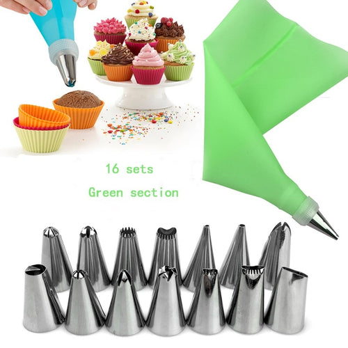 16PCS Reusable Silicone bag and Cake Decorating Nozzles - Kaya Kitchen