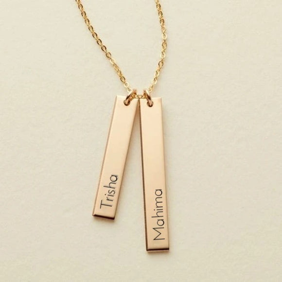 2 Names Bar Engraved Pendant
